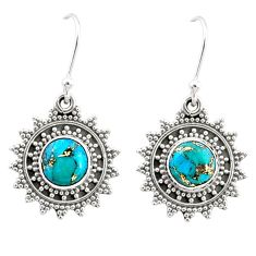925 sterling silver 2.77cts blue copper turquoise dangle earrings jewelry r68372