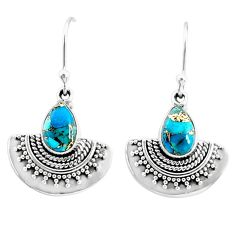 925 sterling silver 4.16cts blue copper turquoise dangle earrings jewelry r68409