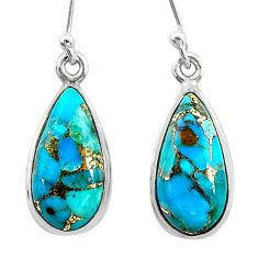925 sterling silver 9.88cts blue copper turquoise dangle earrings jewelry t23788