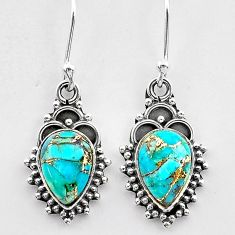 925 sterling silver 4.80cts blue copper turquoise dangle earrings jewelry t26868