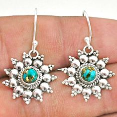 925 silver 1.84cts blue copper turquoise dangle earrings jewelry t34207