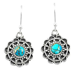 925 sterling silver 1.53cts blue copper turquoise dangle earrings jewelry t35952