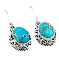 925 sterling silver 6.08cts blue copper turquoise dangle earrings jewelry t46804