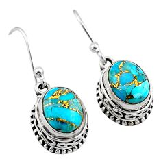 925 sterling silver 6.01cts blue copper turquoise dangle earrings jewelry t46827