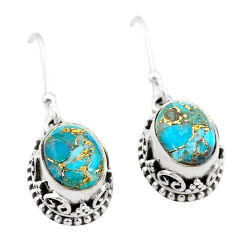 925 sterling silver 5.82cts blue copper turquoise dangle earrings jewelry t46847