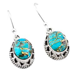 925 sterling silver 5.32cts blue copper turquoise dangle earrings jewelry t46885
