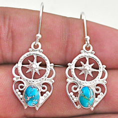 925 sterling silver 3.07cts blue copper turquoise dangle earrings jewelry t46976