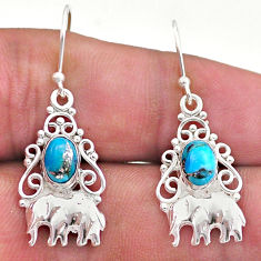 925 sterling silver 2.92cts blue copper turquoise elephant earrings t46972