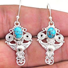925 sterling silver 3.14cts blue copper turquoise owl earrings jewelry t46979