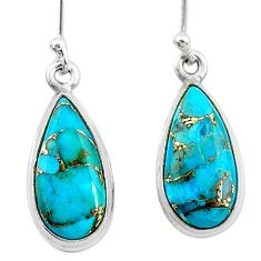 925 sterling silver 9.44cts blue copper turquoise pear earrings jewelry t23793