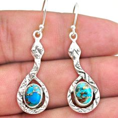 925 sterling silver 4.23cts blue copper turquoise snake earrings jewelry t32966