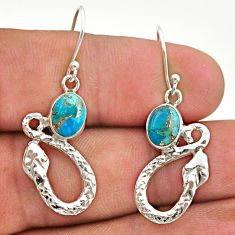 925 sterling silver 4.30cts blue copper turquoise snake earrings jewelry t40248