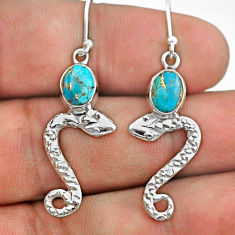 925 sterling silver 4.42cts blue copper turquoise snake earrings jewelry t40278