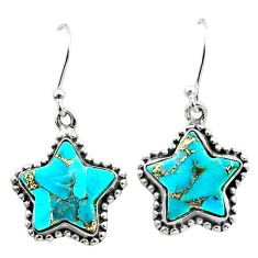 925 sterling silver 10.79cts blue copper turquoise star handmade earrings t50630