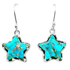 925 sterling silver 9.37cts blue copper turquoise star handmade earrings t50633
