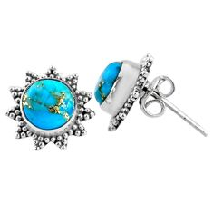 925 sterling silver 3.94cts blue copper turquoise stud earrings jewelry r67007