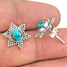 925 silver 2.42cts blue copper turquoise stud earrings jewelry t34186