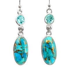 925 sterling silver 15.34cts blue copper turquoise topaz dangle earrings r41125
