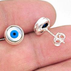 925 sterling silver 4.45cts blue evil eye talismans stud earrings jewelry t21284