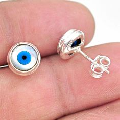 925 sterling silver 4.46cts blue evil eye talismans stud earrings jewelry t21288