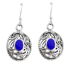 925 sterling silver blue lapis lazuli enamel dangle earrings jewelry c11735
