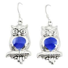 Blue lapis lazuli enamel 925 sterling silver owl earrings jewelry c11597