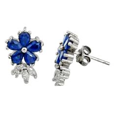 925 sterling silver 4.57cts blue sapphire (lab) topaz quartz stud earrings c9944