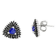 925 sterling silver 4.53cts blue sapphire (lab) topaz stud earrings c9336