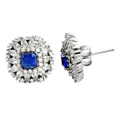 925 sterling silver 7.83cts blue sapphire (lab) topaz stud earrings c9344