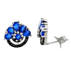 925 sterling silver 4.18cts blue sapphire (lab) topaz stud earrings c9484