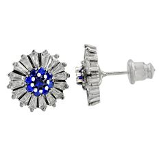 925 sterling silver 6.70cts blue sapphire (lab) topaz stud earrings c9495