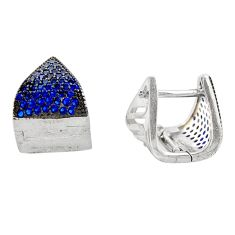 925 sterling silver 2.92cts blue sapphire (lab) topaz stud earrings c9540
