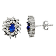 925 sterling silver 3.67cts blue sapphire (lab) topaz stud earrings c9545