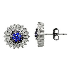925 sterling silver 4.67cts blue sapphire (lab) white topaz stud earrings c9612