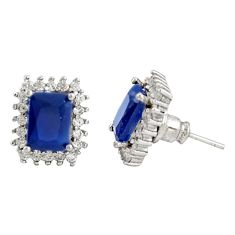 925 sterling silver 8.73cts blue sapphire (lab) white topaz stud earrings c9651
