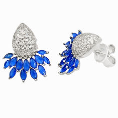 925 sterling silver blue sapphire quartz topaz stud earrings jewelry c19468
