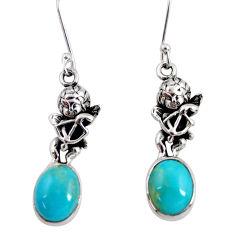 925 sterling silver 8.31cts blue sleeping beauty turquoise angel earrings d40504