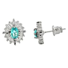 925 sterling silver 4.80cts blue topaz quartz topaz stud earrings jewelry c9247