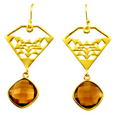 925 sterling silver 12.31cts brown smoky topaz 14k gold dangle earrings r31584