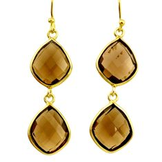 925 sterling silver 15.93cts brown smoky topaz 14k gold dangle earrings r31624
