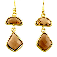 925 sterling silver 11.93cts brown smoky topaz 14k gold dangle earrings r31644