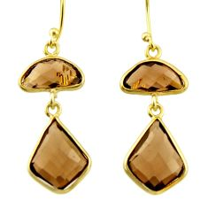 925 sterling silver 11.93cts brown smoky topaz 14k gold dangle earrings r31648