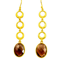 925 sterling silver 17.39cts brown smoky topaz 14k gold dangle earrings r31751