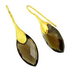Handmade 17.32cts brown smoky topaz 14k gold dangle earrings t11344