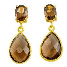 Handmade 11.28cts brown smoky topaz 14k gold dangle earrings t16507