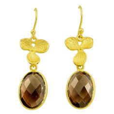 Handmade 11.93cts brown smoky topaz 14k gold dangle earrings t16510