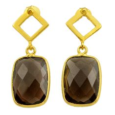 925 sterling silver 10.65cts brown smoky topaz 14k gold dangle earrings t44213