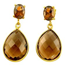 925 sterling silver 18.76cts brown smoky topaz 14k gold earrings jewelry r31534