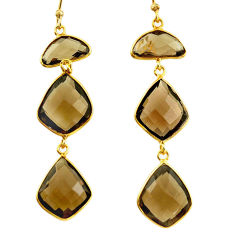 925 sterling silver 21.69cts brown smoky topaz 14k gold earrings jewelry r38524