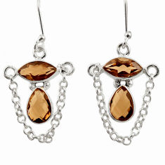 Clearance Sale- 925 sterling silver 7.82cts brown smoky topaz dangle earrings jewelry d39904
